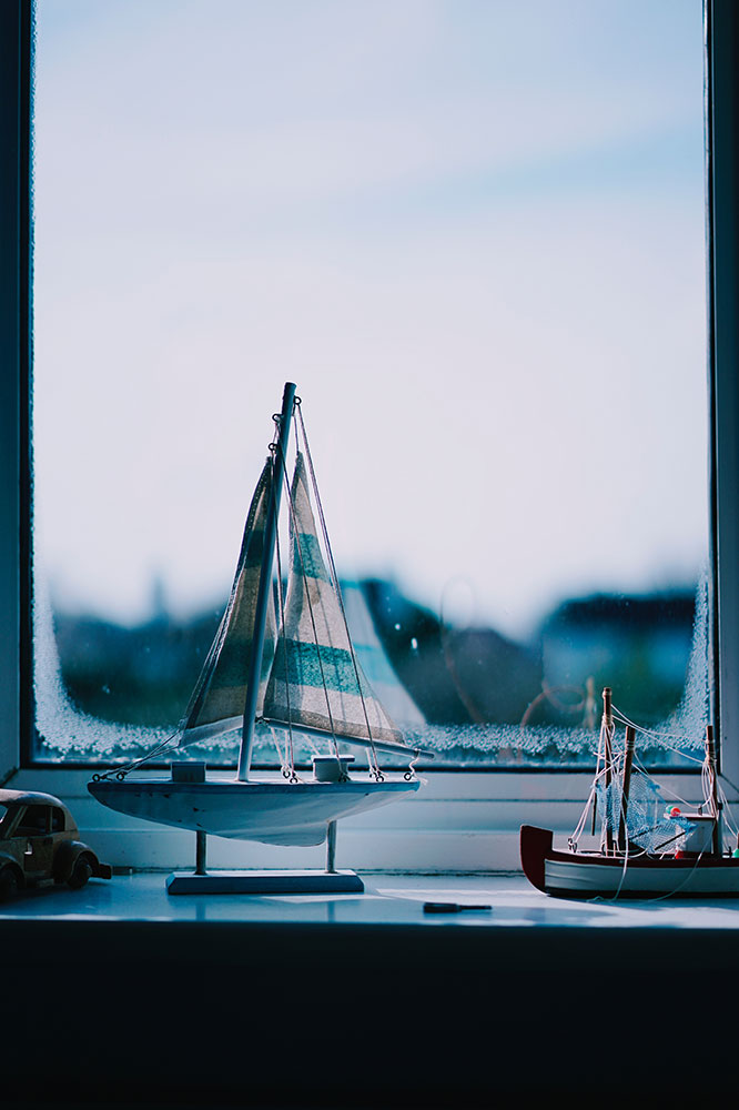 Model boats in the windowsill