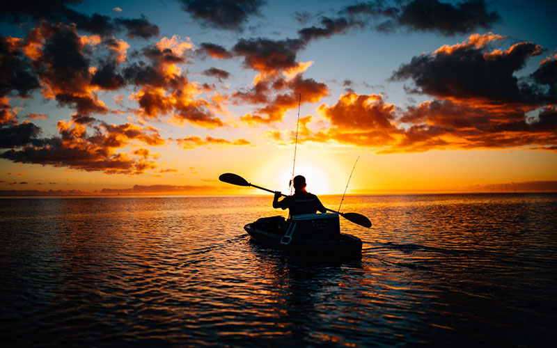 Silhouette of man canoeing during sunset