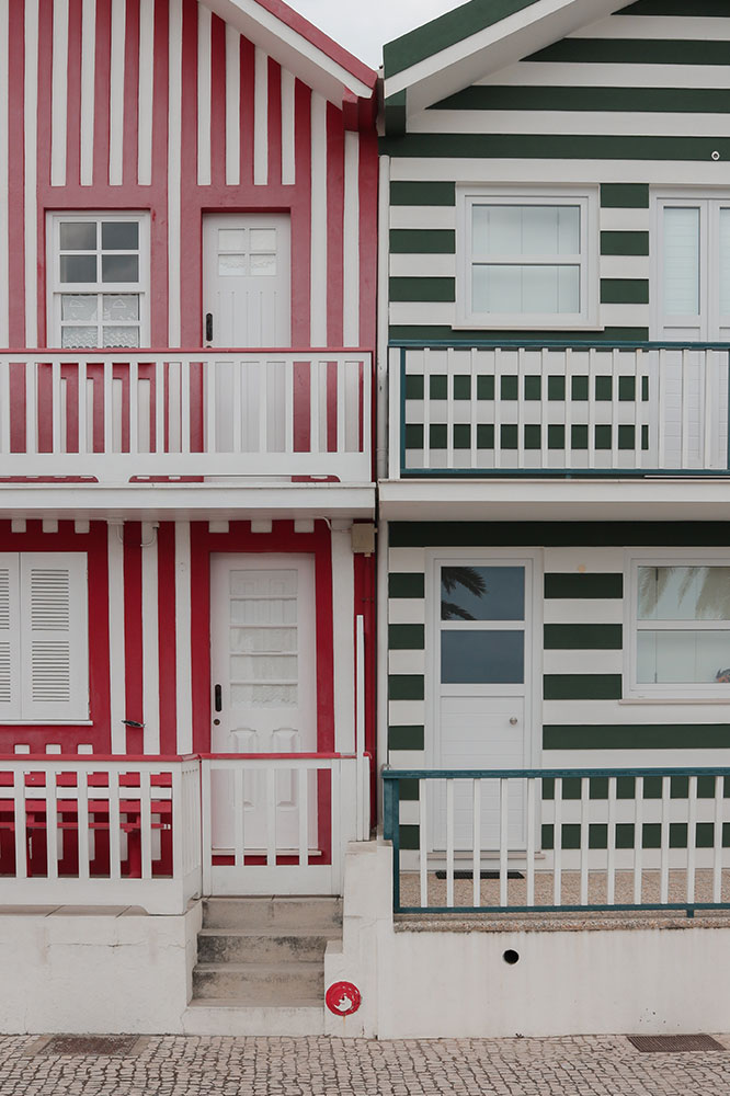 Colour striped houses on the sea front
