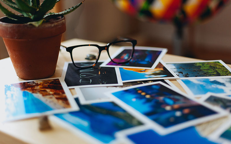 Printed photos on table top